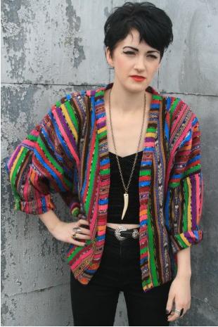 Bright Guatemaian Crop Jacket